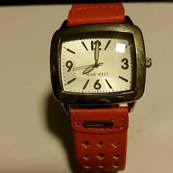 Nine West Orange Leather Band Watch. 0